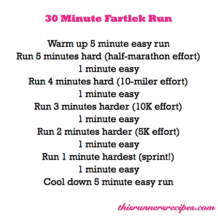 Running Workout: 30 Minute Fartlek Workout