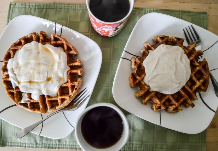 Oatmeal waffles with cinnamon maple greek yogurt