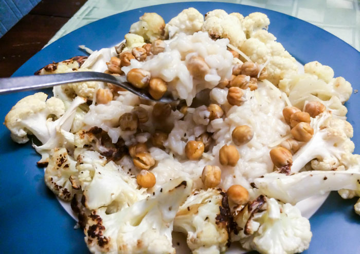 Crispy Chickpea and Roasted Cauliflower Risotto