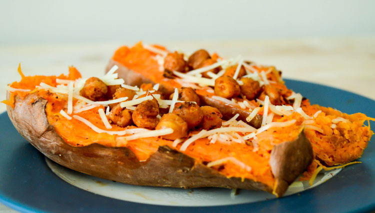 Crispy Chickpea Stuffed Sweet Potatoes