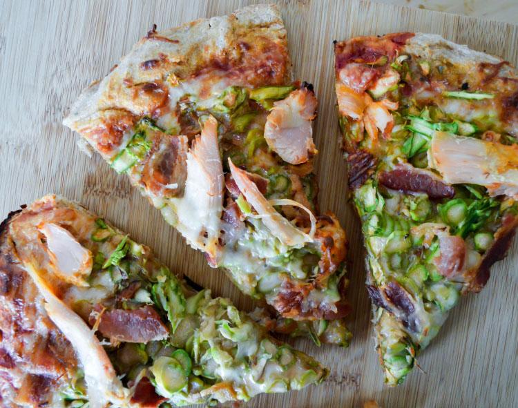 Asparagus, Turkey, and Bacon Pizza