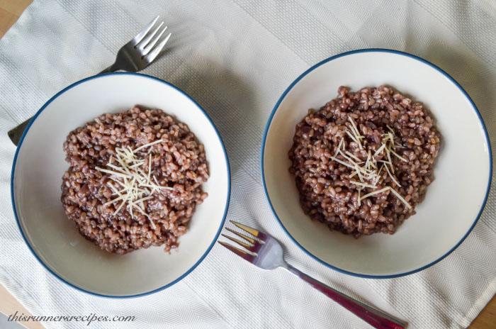 Gluten Free Vegetarian Red Wine Brown Rice Risotto