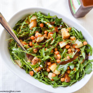 Roasted Chickpea, Eggplant, Red Potato, and Arugula Salad