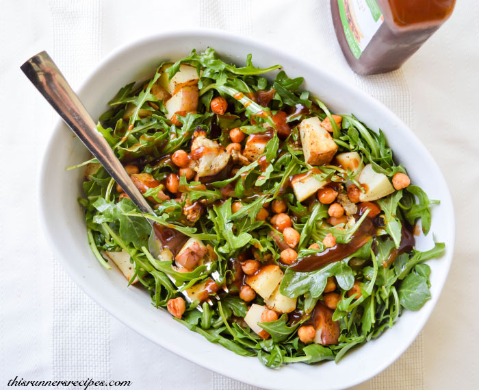 Roasted Eggplant, Chickpea, Potato, and Arugula Salad | This Runner's Recipes