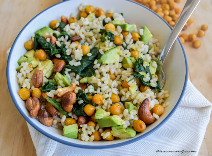 Curried Beans and Greens Rice Bowl