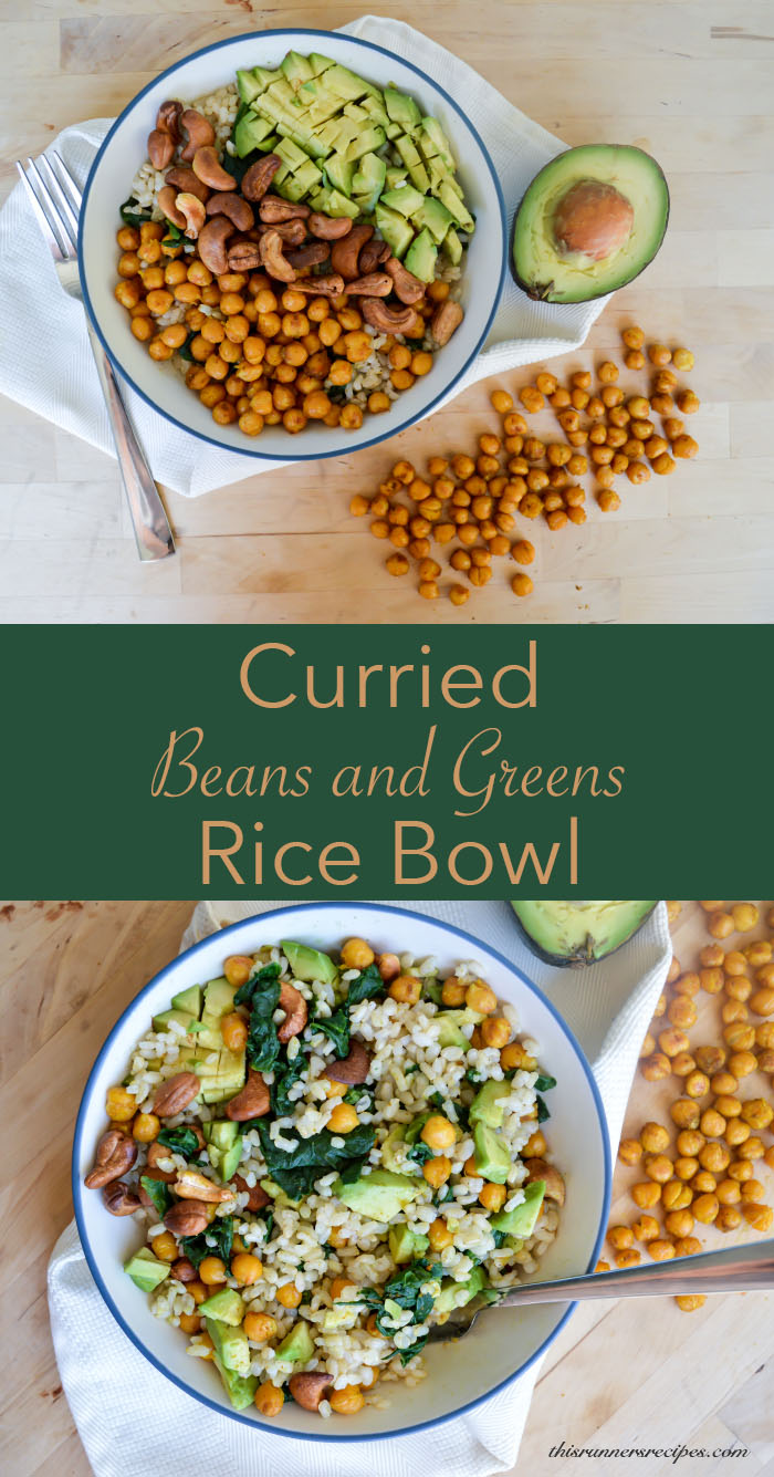 Gluten free and vegan Curried Beans and Greens Rice Bowl