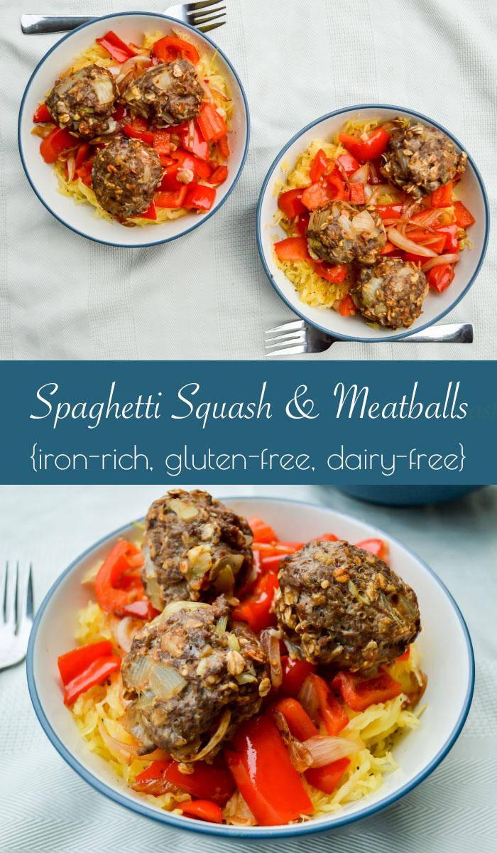 Iron Rich, Dairy free, Gluten free Spaghetti Squash and Meatballs