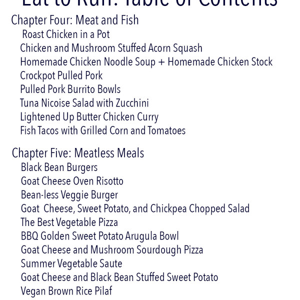 Eat to Run Cookbook Ebook Table of Contents
