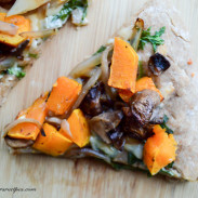 Autumn Harvest Pizza with Butternut Squash, Arugula, and Mushrooms