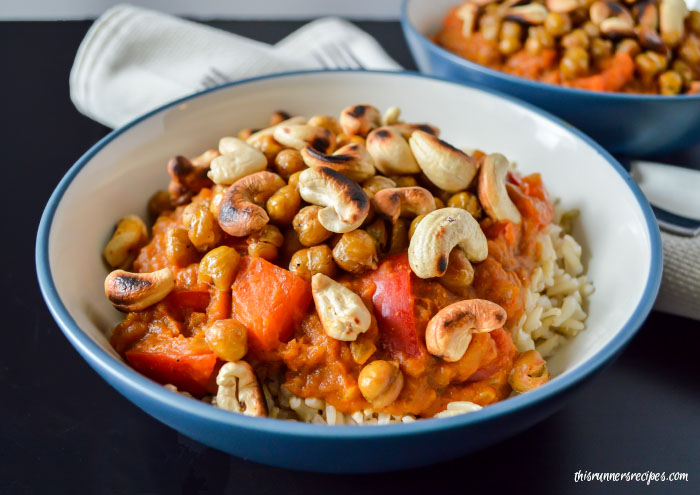 Enjoy pumpkin in a savory and spicy dish with this coconut and pumpkin chickpea curry with roasted cashews and brown basmati rice.