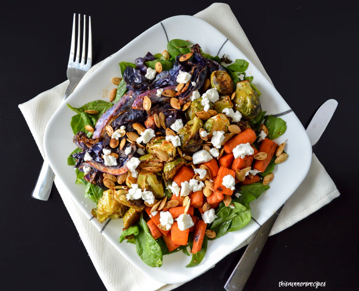 Gluten Free and Vegetarian Roasted Winter Vegetable Salad with Creamy Goat Cheese and Crunchy Pepitas