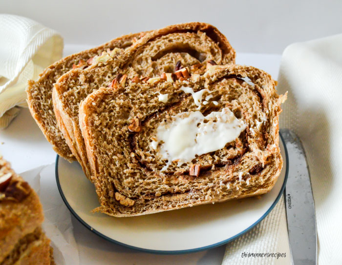 Whole Wheat Pecan Pumpkin Spice Swirl Bread