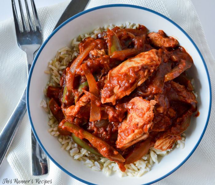 Healthy Roasted Red Pepper Chicken Paprikash - with options to prep ahead of time for an easy weeknight meal!