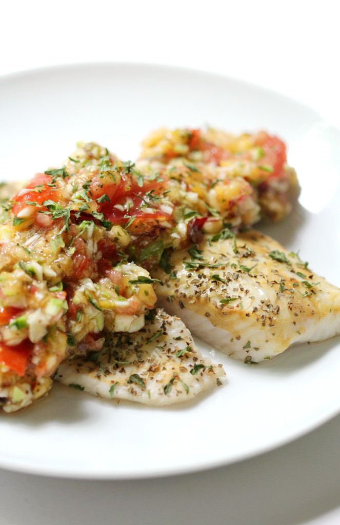 30 Healthy Lenten Fish Recipes: Dijon Tilapia with Peach Zucchini Salsa