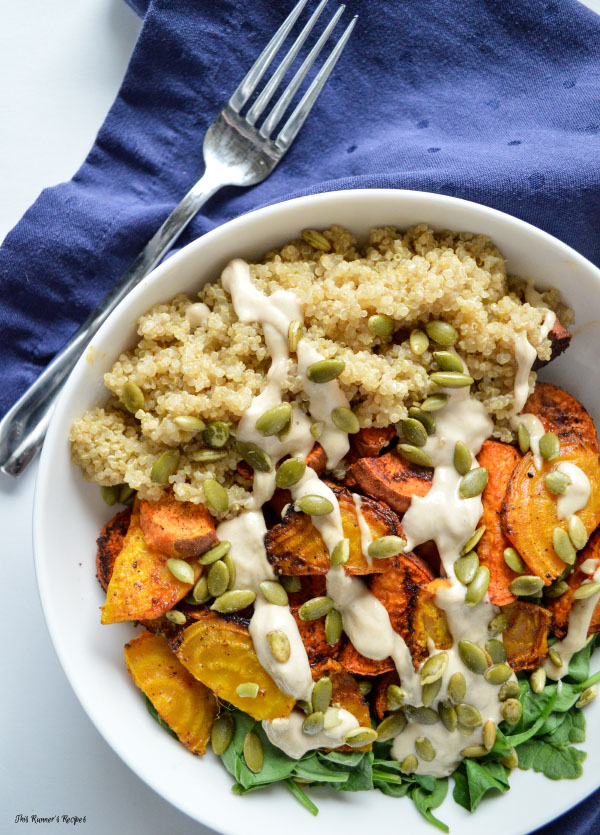 Roasted Root Vegetable and Quinoa Buddha Bowl with Lemon Tahini Dressing and Pumpkin Seeds