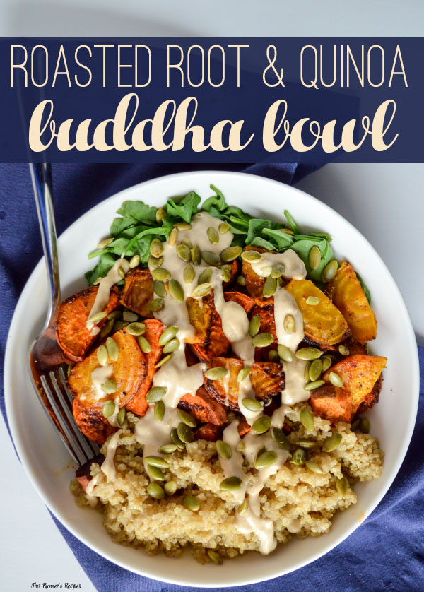 Roasted root and quinoa buddha bowl roasted root vegetable and quinoa buddha bowl with lemon tahini dressing and pumpkin seeds forumfinder Gallery
