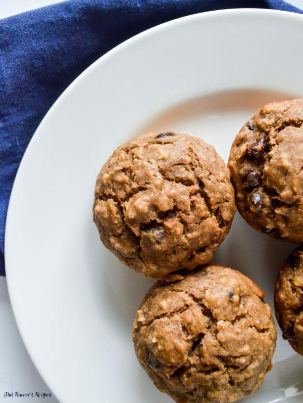 Whole Wheat Coconut Banana Chocolate Chip Muffins