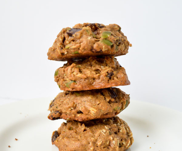 These dairy-free trail mix cookies will fuel your hiking or replenish you after a run with oats, raisins, pumpkin seeds, coconut oil, and dark chocolate!