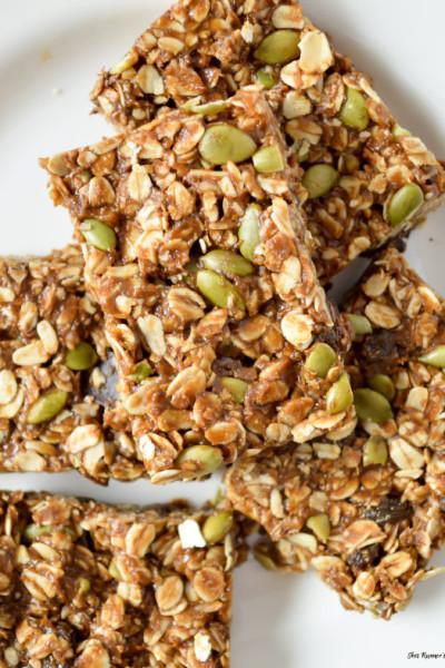 Molasses and Pumpkin Seed No Bake Granola Bars