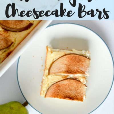 Ginger Pear Greek Yogurt Cheesecake Bars