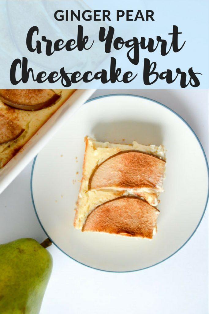 Ginger Pear Greek Yogurt Cheesecake Bars