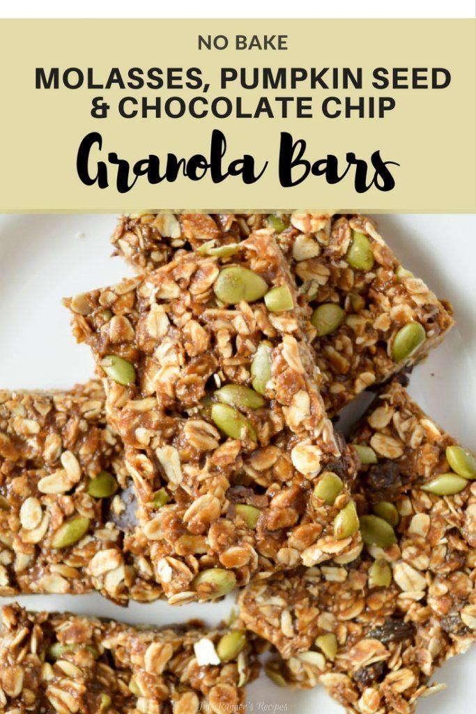 No Bake Molasses and Pumpkin Seed Granola Bars