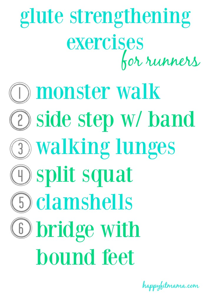 Stay injury free or rehab an injury with these glute strengtghening exercises for runners happyfitmama.com