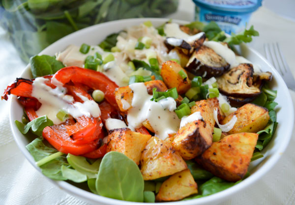 Spiced Chicken Salad with Creamy Greek Yogurt Dressing #StonyfieldBlogger