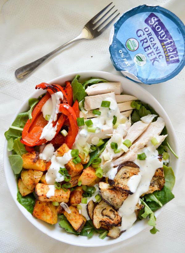 Spiced Chicken Salad with Creamy Greek Yogurt Dressing #StonyfieldBlogger